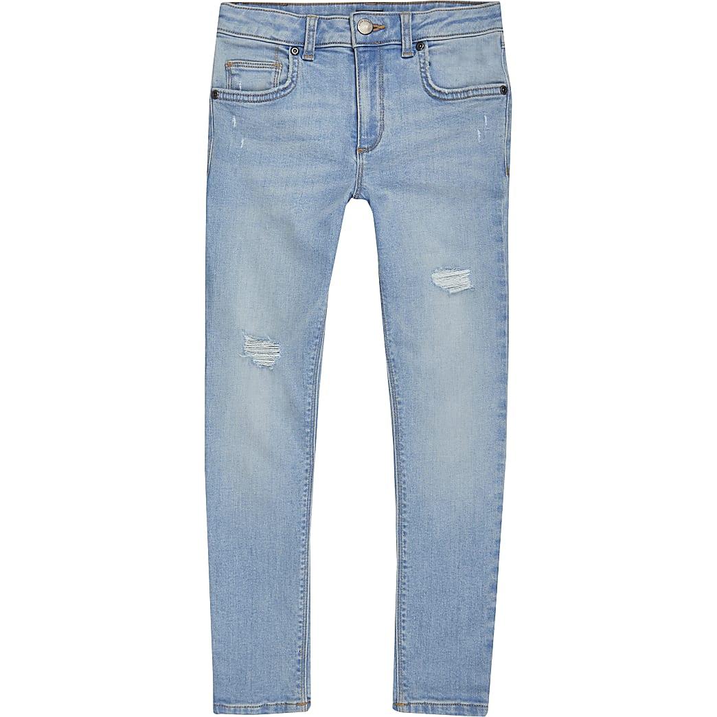 Boys light blue ripped super skinny jeans