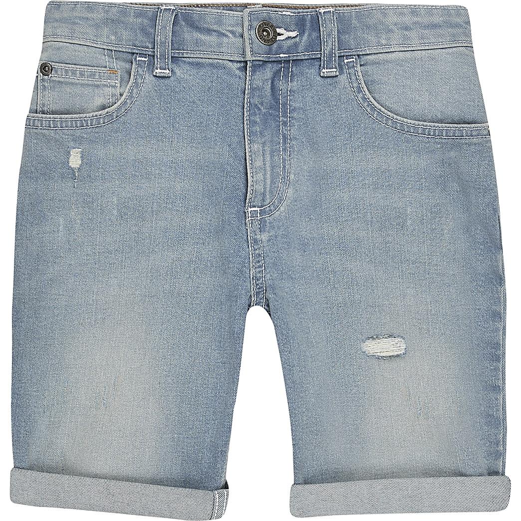 Boys light blue slim fit denim shorts
