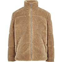 Boys light brown borg puffer jacket