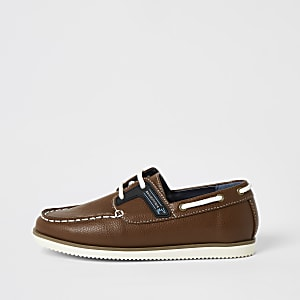 Boys light brown lace-up boat shoes