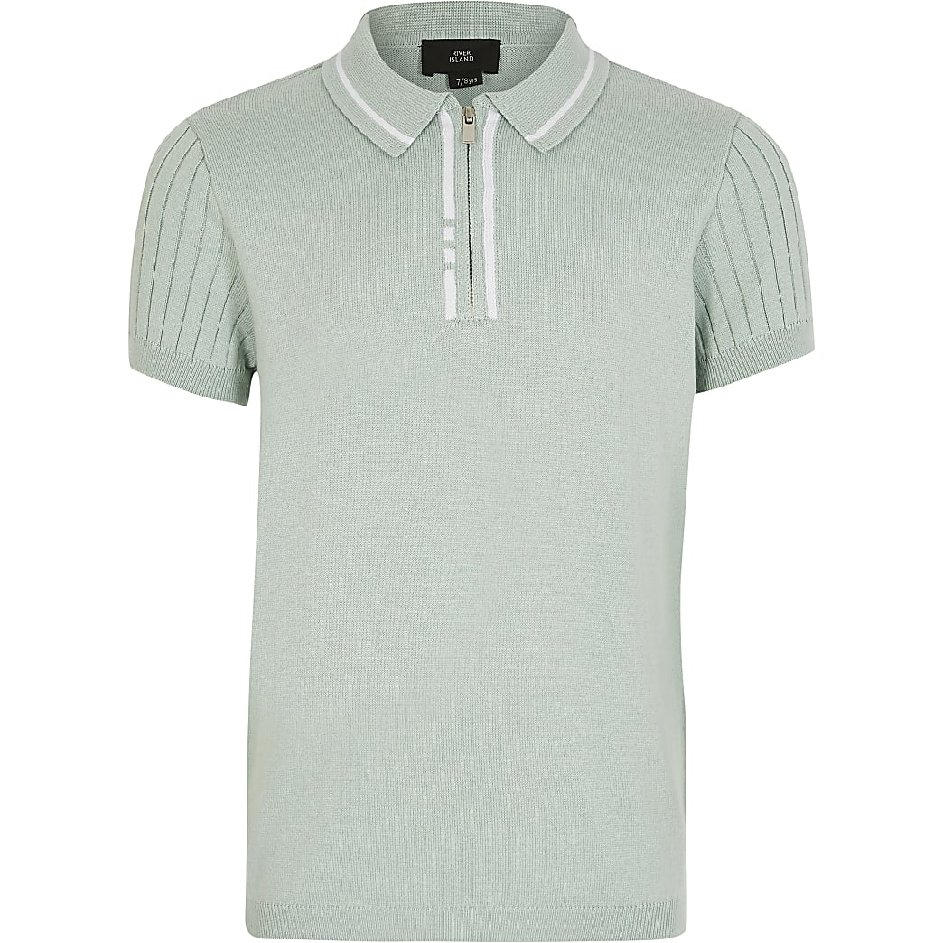 Boys light green knitted polo top