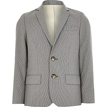 Boys light grey check suit blazer