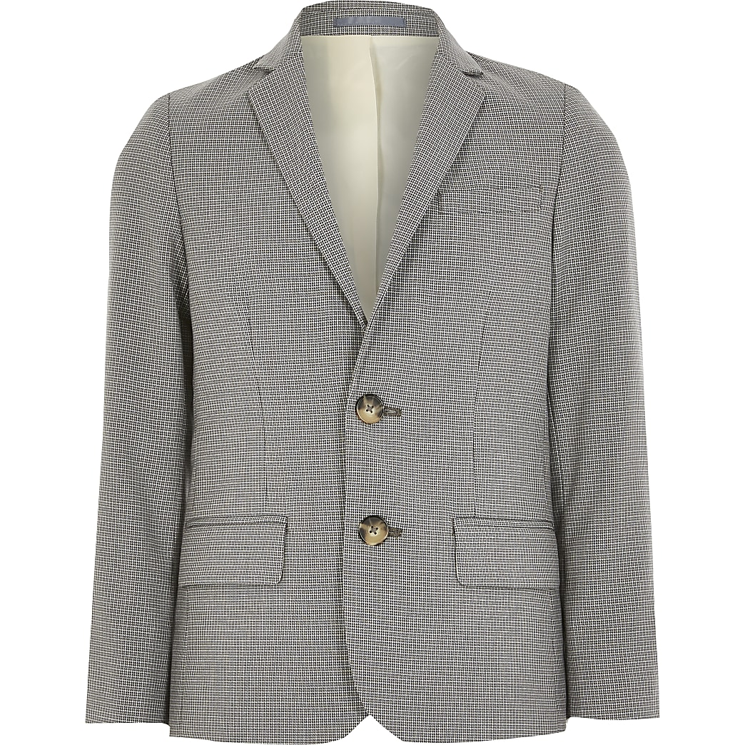 Boys light grey check suit blazer