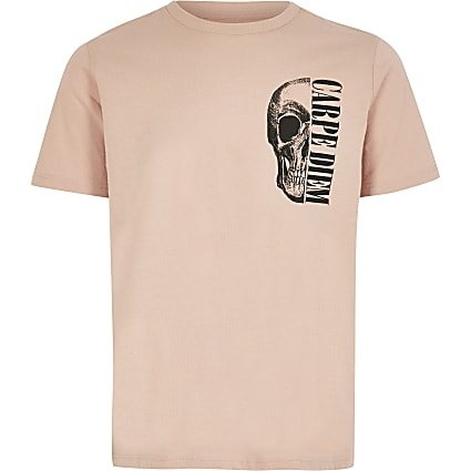 Boys light pink skull print T-shirt