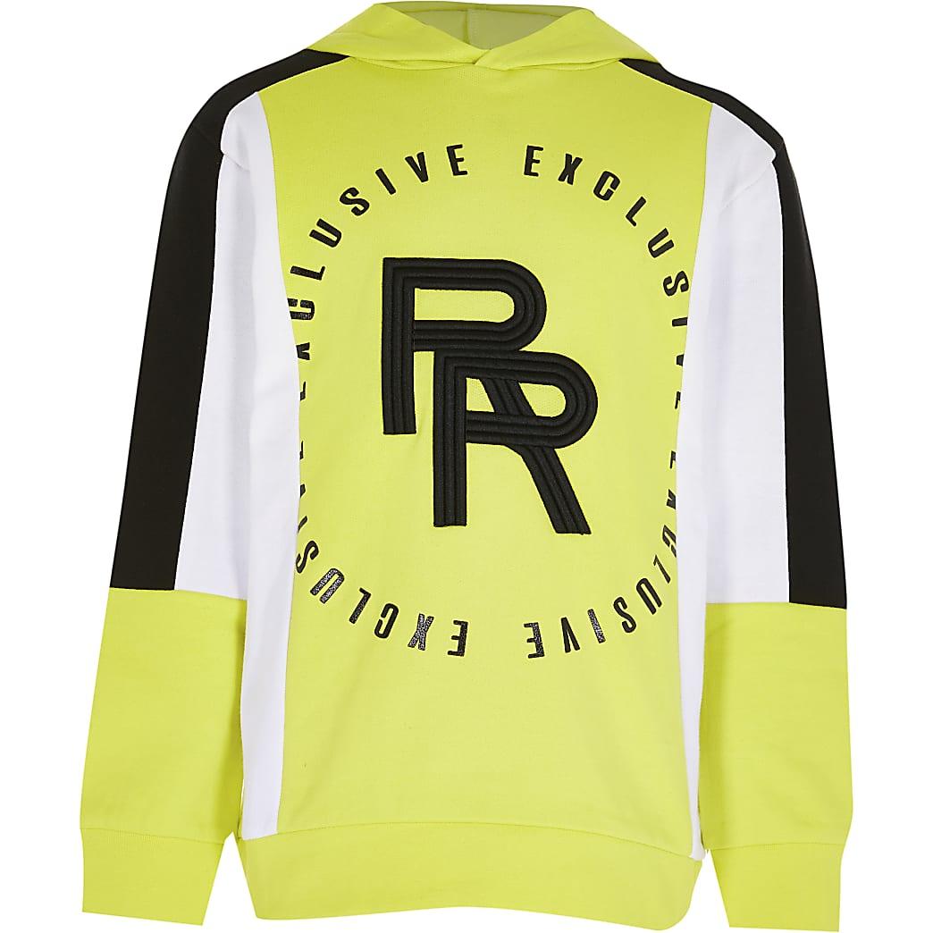 Boys lime block RR print hoodie