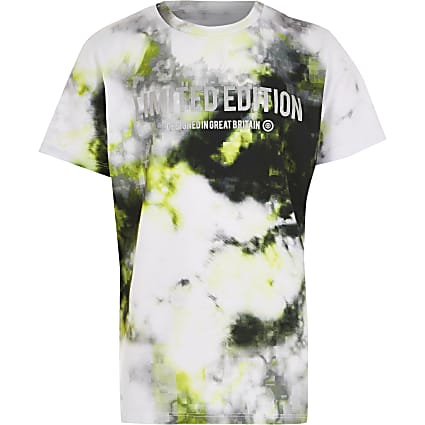 Boys lime glitch print t-shirt