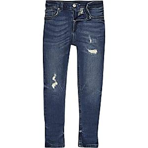 Boys mid blue ripped Sid skinny jeans
