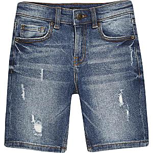 Middenblauwe skinny-fit short voor jongens