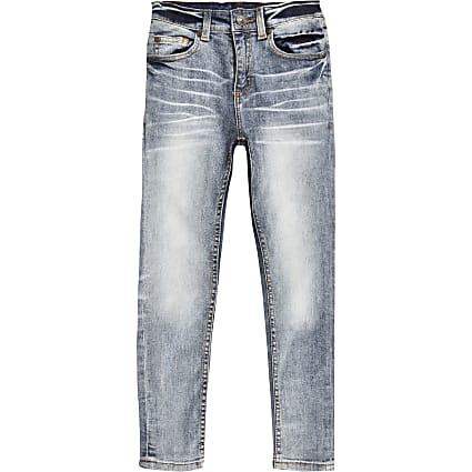Boys mid blue wash skinny jeans