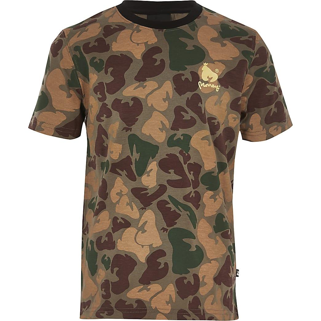 Money Clothing - Groen T-shirt met camouflageprint voor jongens