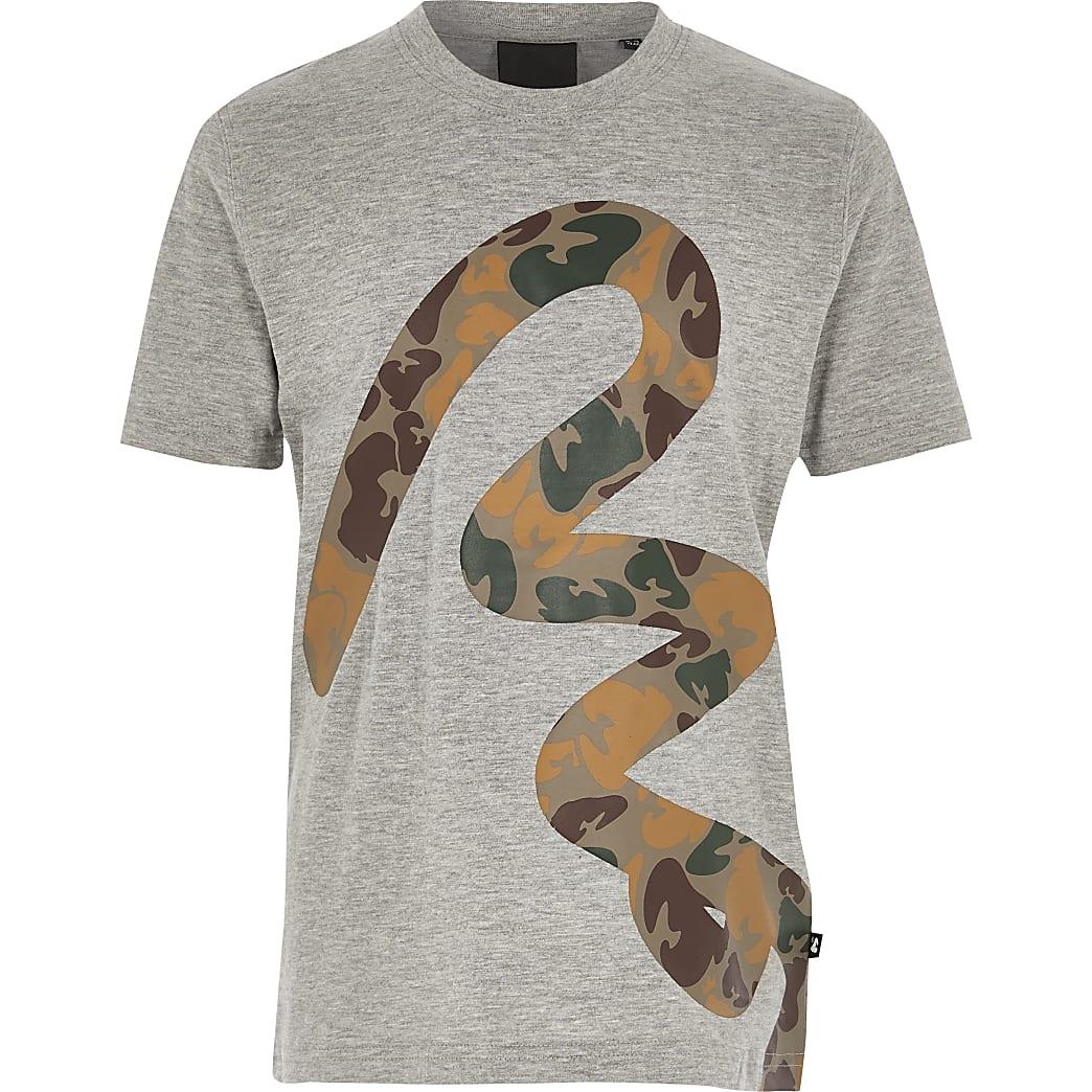 Money Clothing - Grijs T-shirt met camouflagevlakken voor jongens