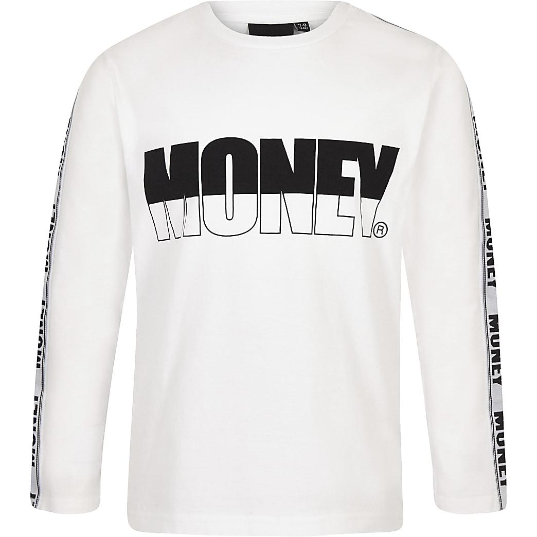 Boys Money white long sleeve T-shirt