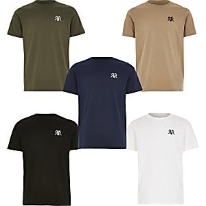 Set van 5 meerkleurige T-shirts met RVR-letters voor jongens