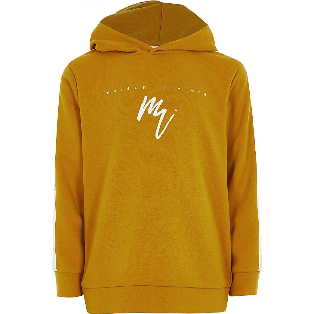 Boys mustard Maison Riviera tape hoodie