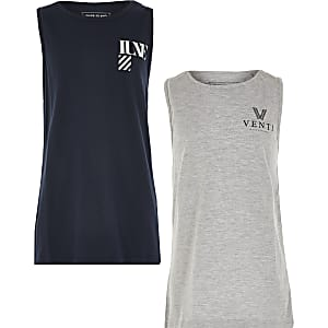 Boys navy 2 pack vests