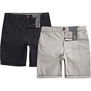 Chino-Shorts in Marineblau und Grau im Set