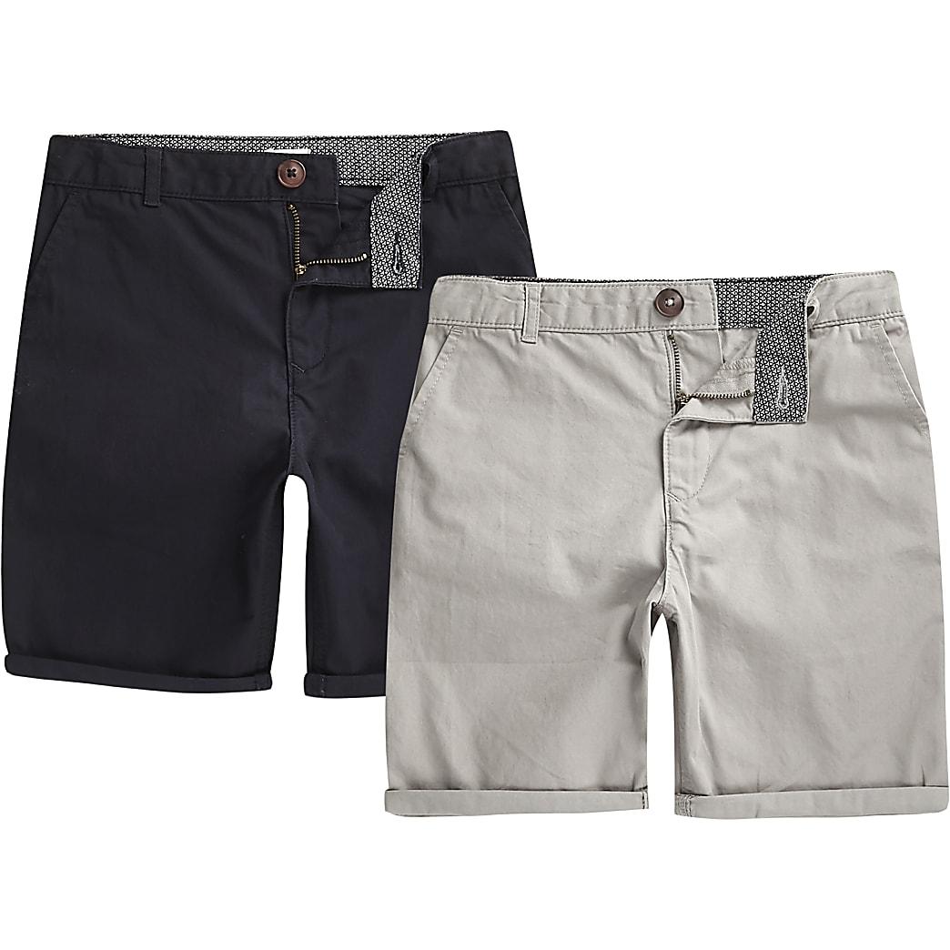 Multipack marineblauwe en grijze chinoshorts voor jongens