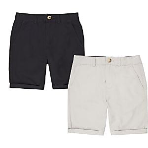 Lot de shorts chino bleu marine et gris pour garçon