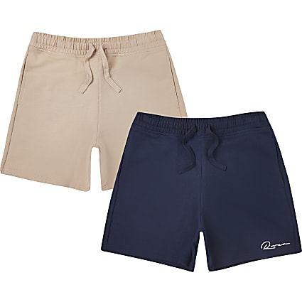 Boys navy and stone 2 pack shorts