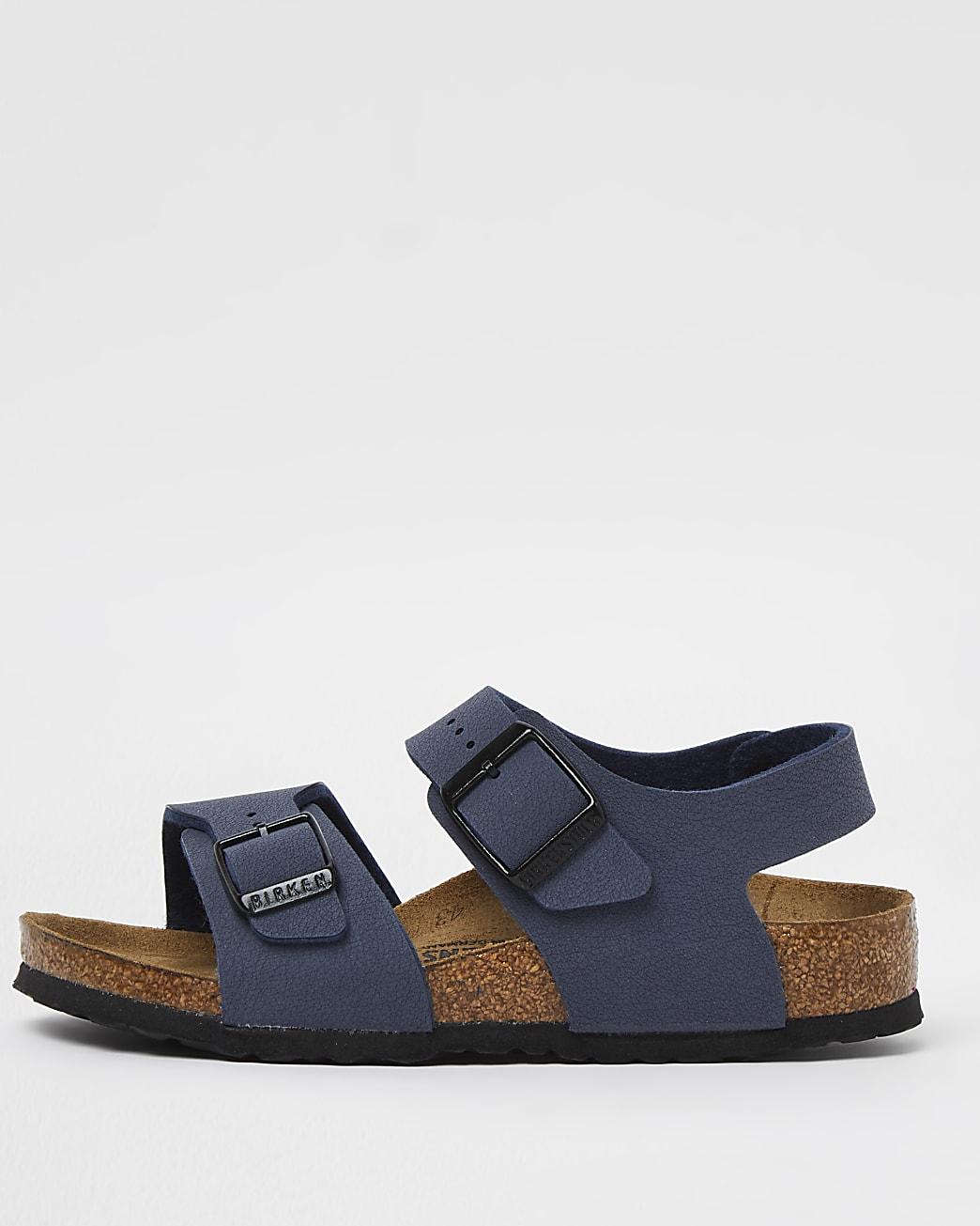 Boys navy Birkenstock double strap sandals
