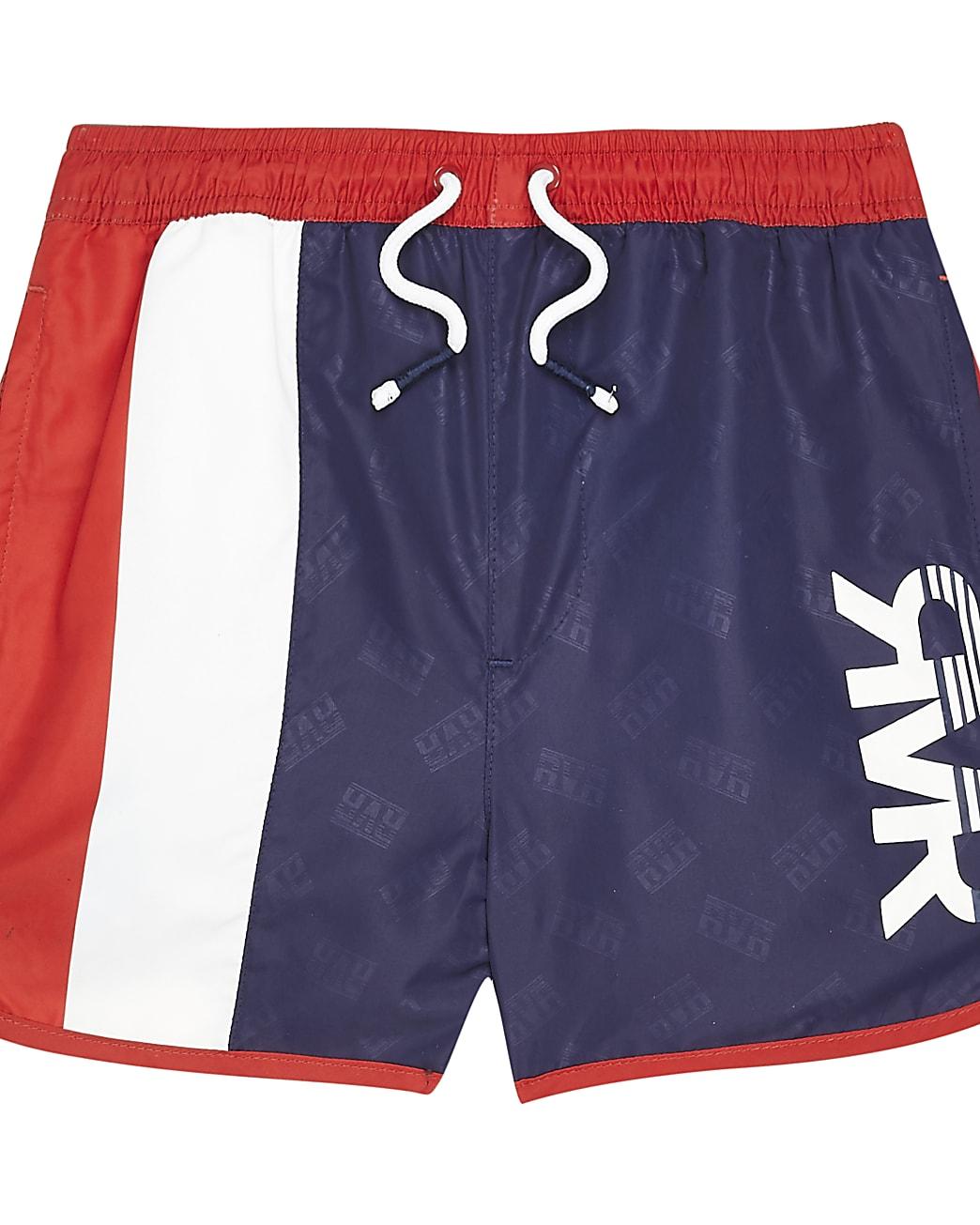 Boys navy blocked RVR swim shorts