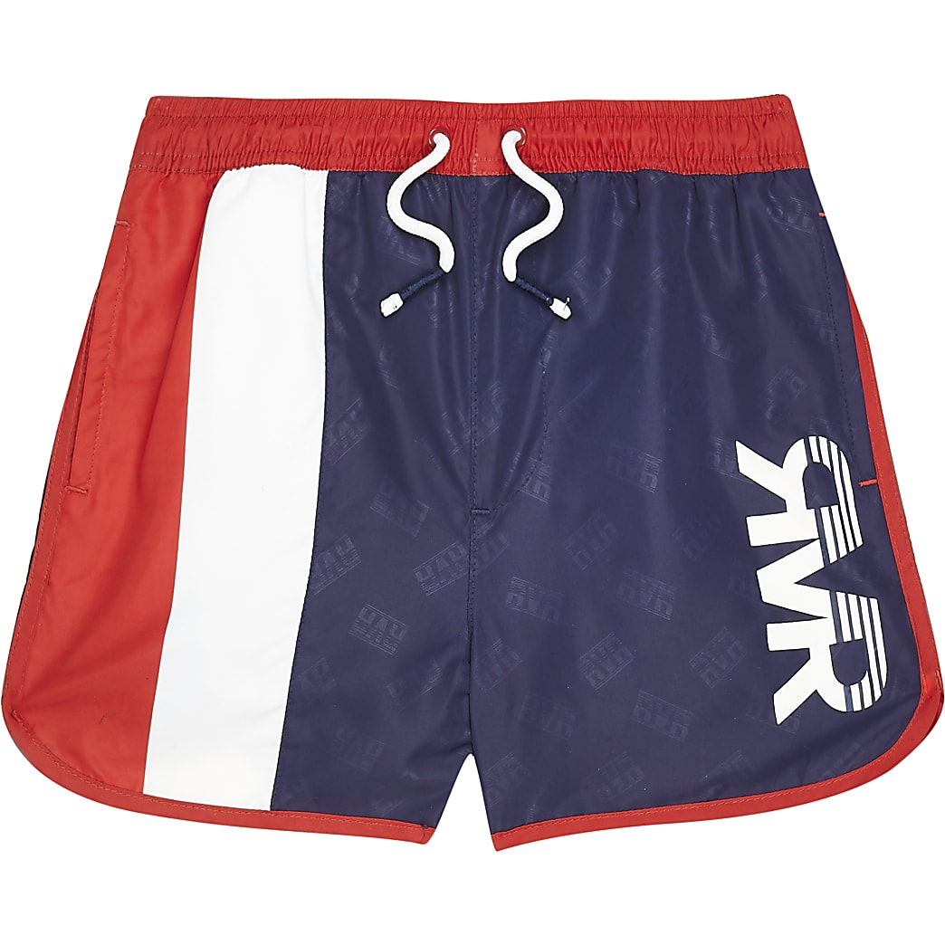 Boys navy blocked RVR swim shorts