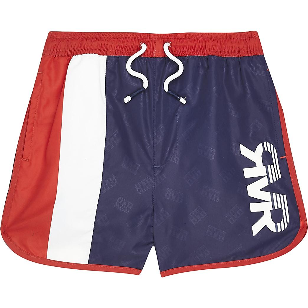 Marineblauwe RVR zwemshort met kleurvlakken voor jongens