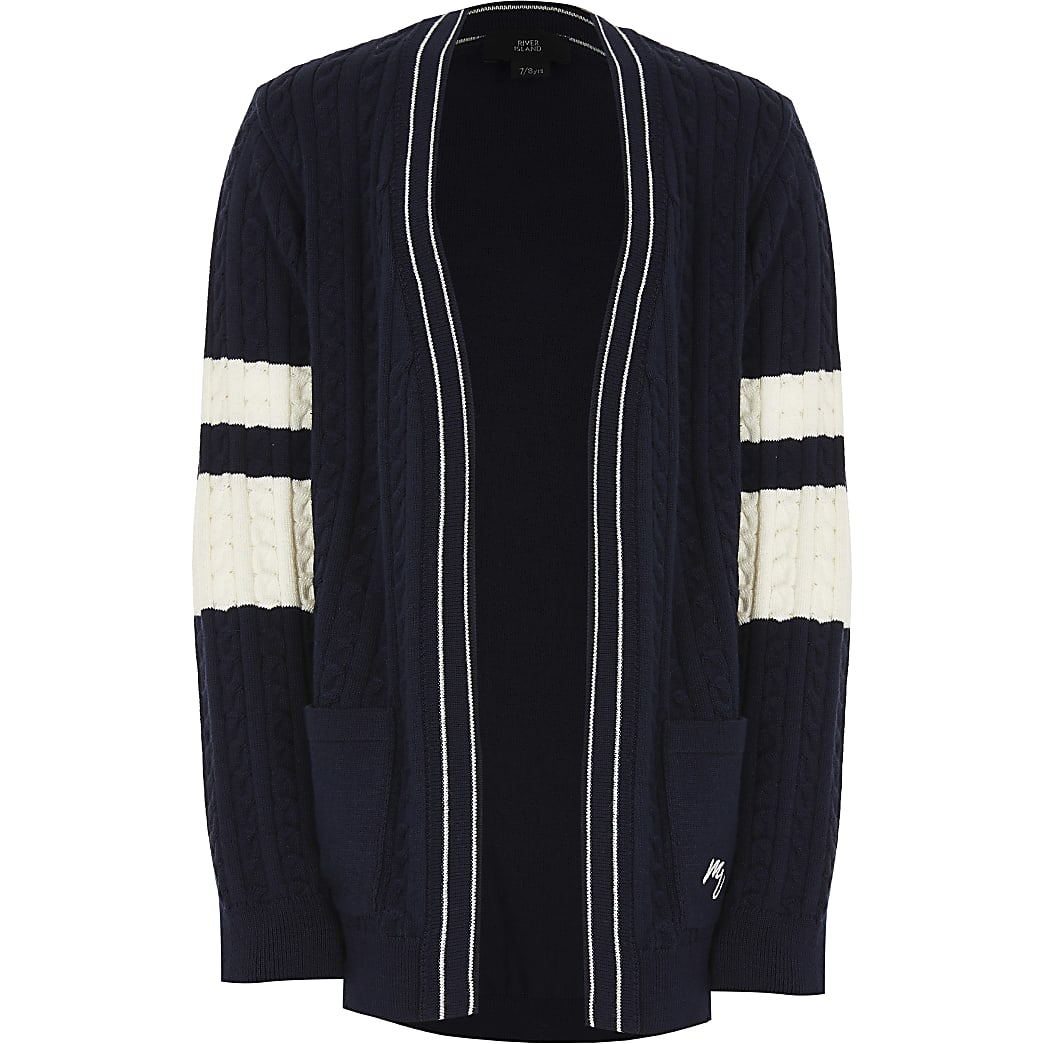 Boys navy cable knitted cardigian