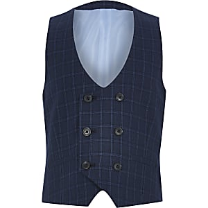 Marineblauw geruit double-breasted gilet voor jongens