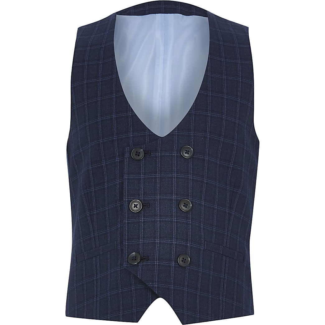 Boys navy check double breasted waistcoat