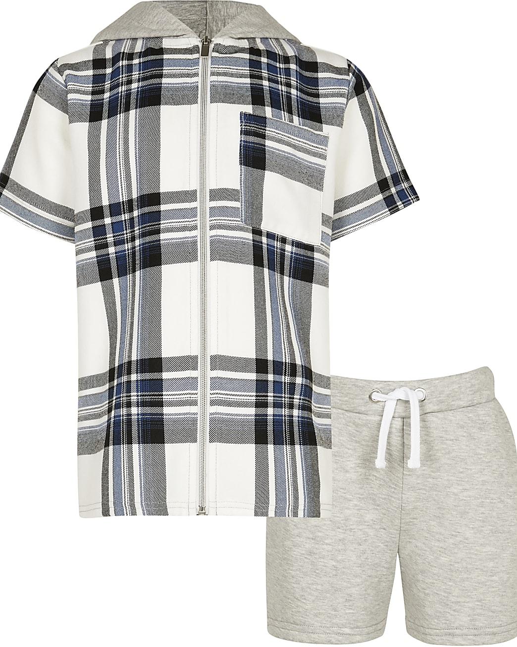 Boys navy check hooded shirt and shorts set