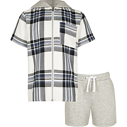 Boys navy check hooded shirt and shorts set