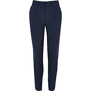 Marineblau karierte, elegante Slim Fit Hose für Jungen