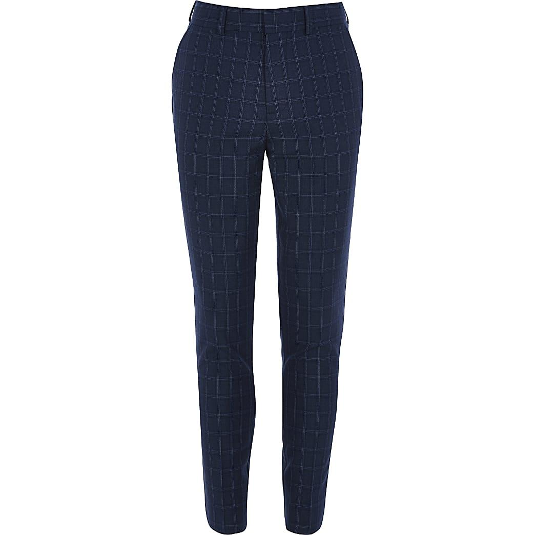 Marineblauwe geruite nette slim-fit broek voor jongens
