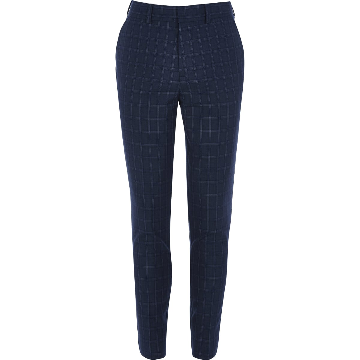 Boys navy check slim fit smart trousers