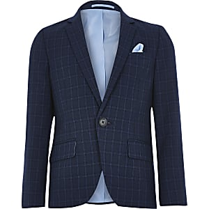Boys navy check suit blazer