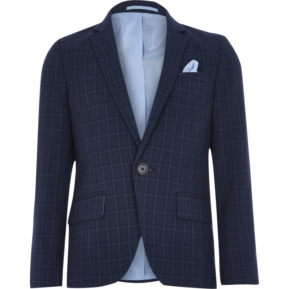 Boys navy check suit blazer