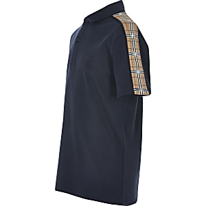 Kurzärmeliges Poloshirt in Marineblau mit kariertem Streifen für Jungen