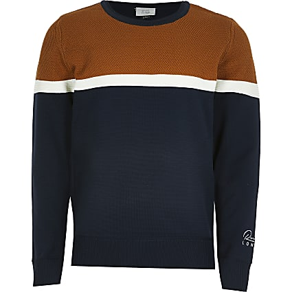 Boys navy colour block jumper