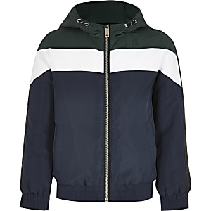 Boys navy colour block padded jacket