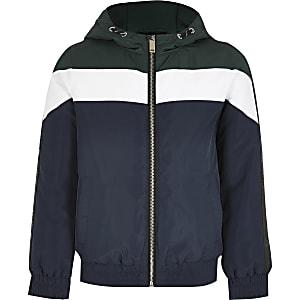Wattierte Jacke in Marineblau mit Blockfarbdesign