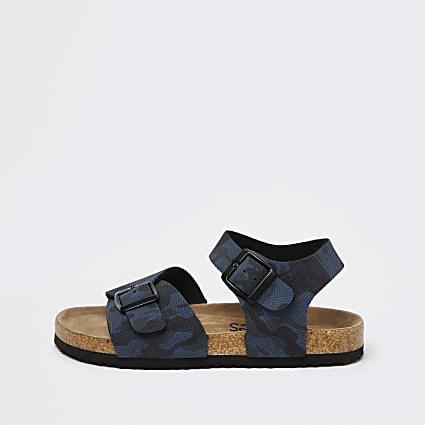 Boys navy cork double strap sandal