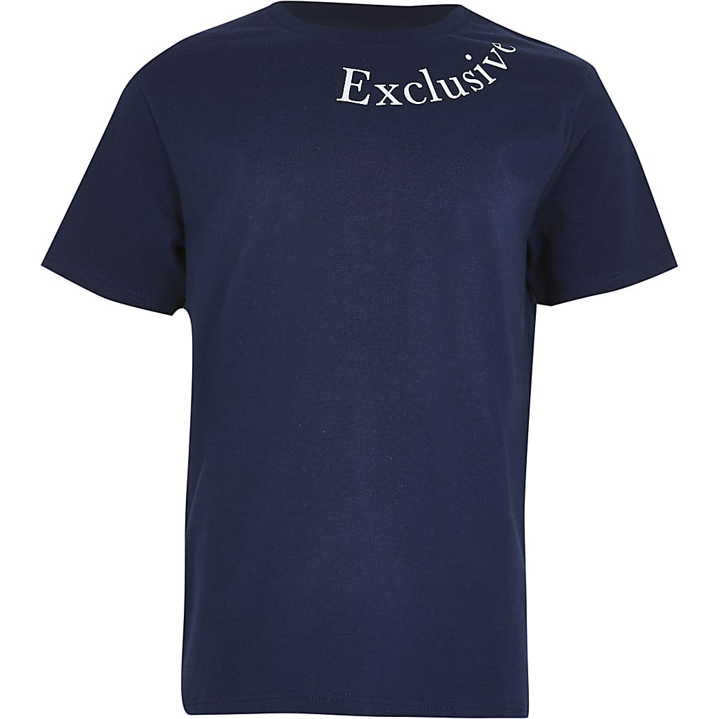 Boys navy 'exclusive' t-shirt