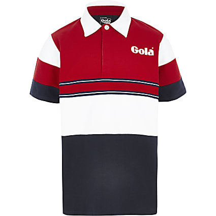 Boys navy Gola Exclusive block polo shirt