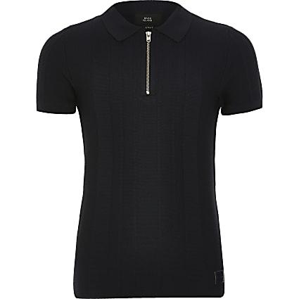Boys navy half zip knitted polo shirt