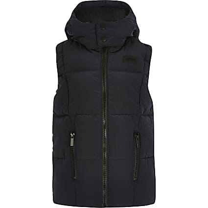 Boys navy hood quilted ripstop gilet