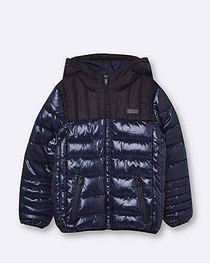 Boys navy hooded puffer coat