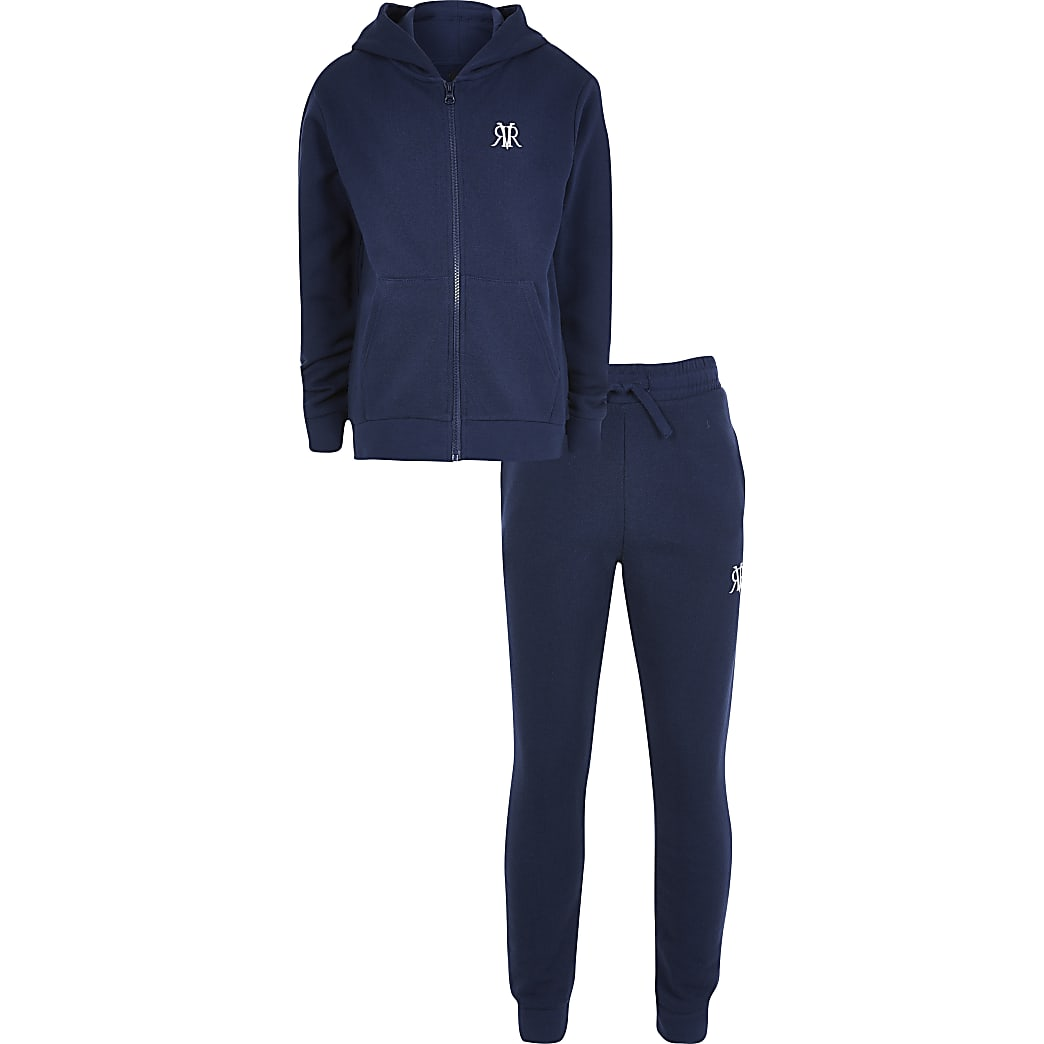 Boys navy hoodie and jogger zip up outfit