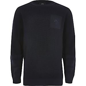 Marineblauer gestrickter, langärmliger Pullover