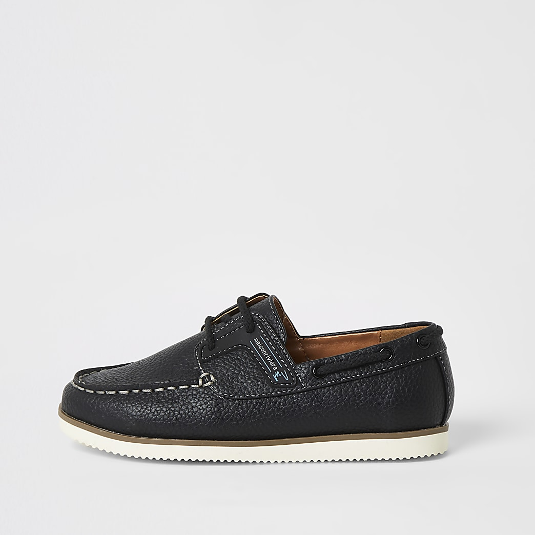 Boys navy lace-up boat shoes